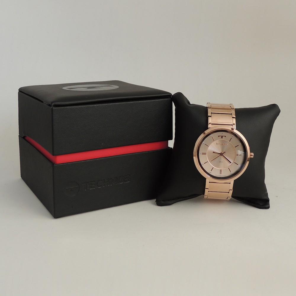 Relógio Feminino Technos Rosê Fashion Brilhante Analógico Pulseira de Metal Rose Aço Inox 2035MTB/1T
