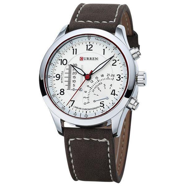 Relógio Masculino Casual Curren 8152 Pulseira de Couro Social