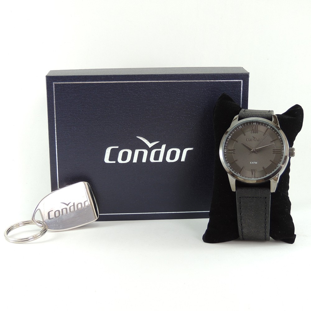 Relógio Masculino Condor Casual Grafite Fumê Redondo Analógico Pulseira Preta CO2036KXU/K2C + Chaveiro Abridor de Garrafas