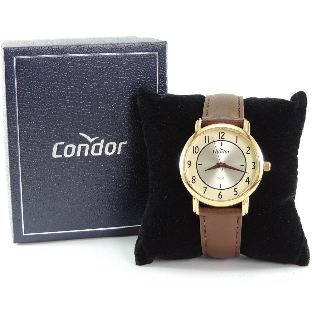 Relógio Masculino Condor Dourado Clássico Social Analógico Pulseira de Couro Marrom CO2035MRZ/2X