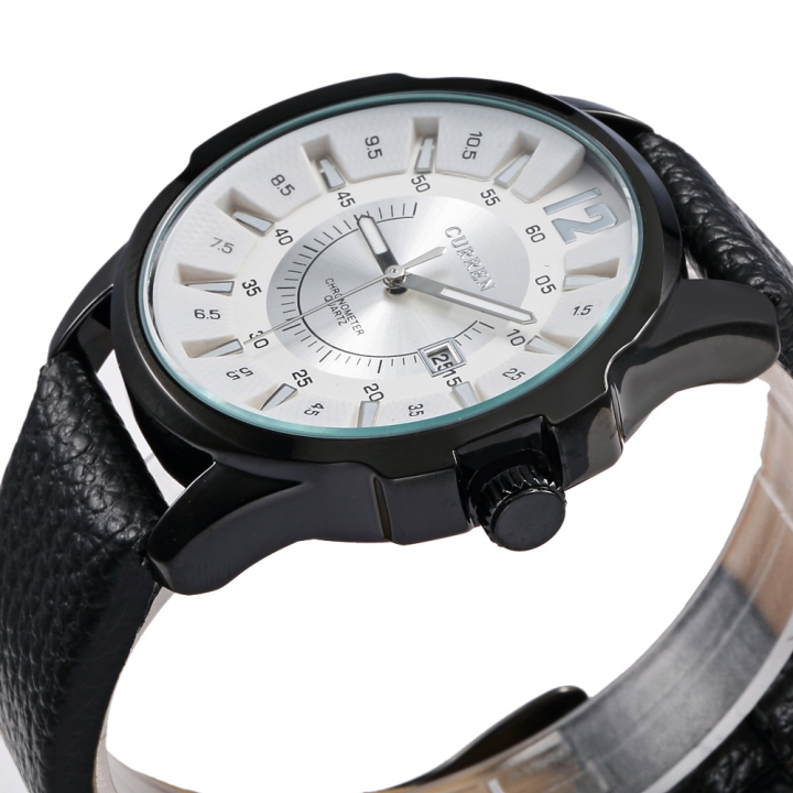 Relógio Masculino Curren 8123 Preto Branco Social Pulseira de Couro Preta 01-PT/PT/BR