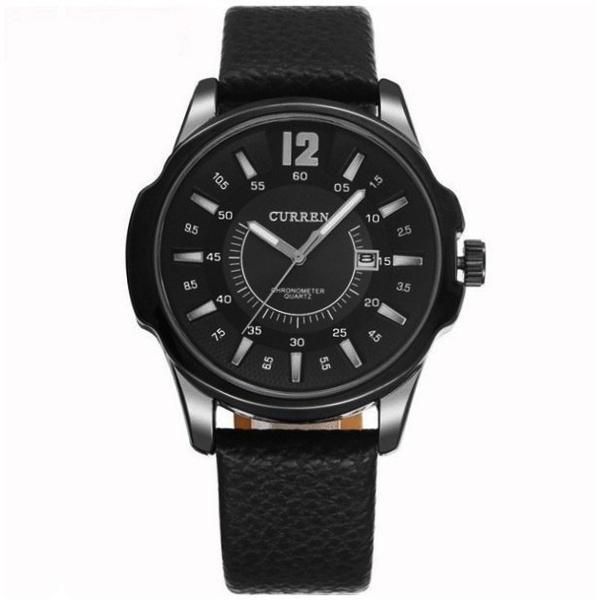 Relógio Masculino Curren 8123 Preto Social Pulseira de Couro Preta 06-PT/PT/PT