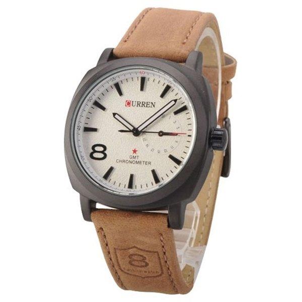 Relógio Masculino Curren 8139 Preto Branco Militar Esportivo Pulseira de Couro Marrom