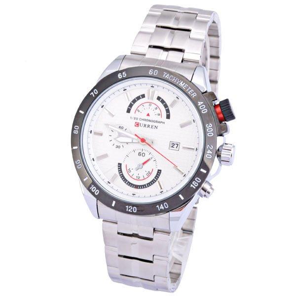 Relógio Masculino Curren 8148 Prata Branco Sport Pulseira Prateada Aço Inoxidável