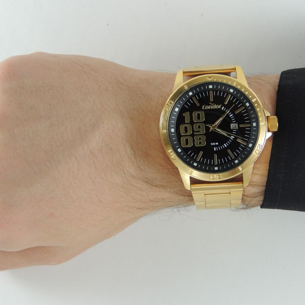 Relógio Masculino Dourado Grande Condor Esportivo de Luxo Analógico Resistente á Água CO2115KXT/4D