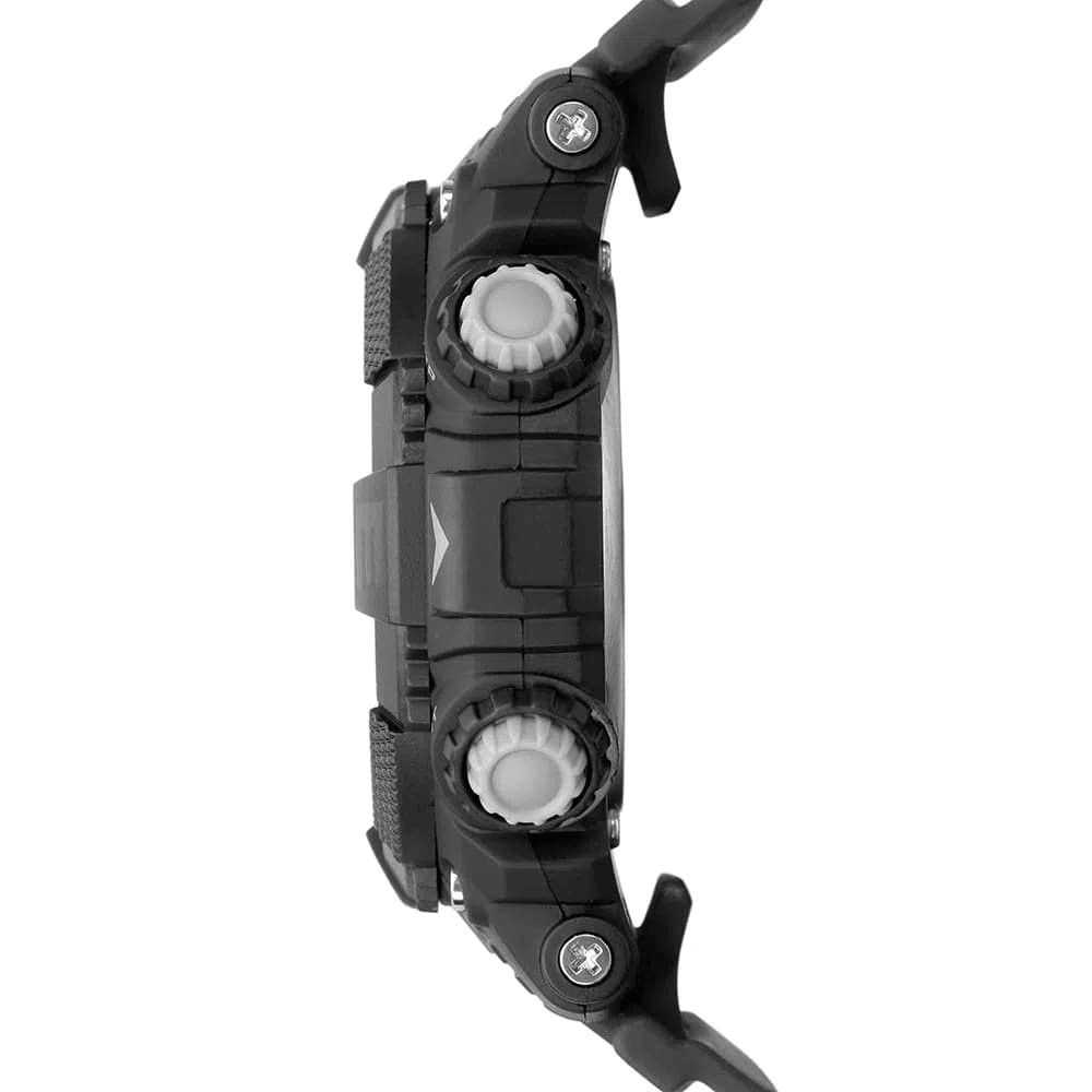 Relógio Masculino Mormaii Action Preto Cronógrafo À Prova D'água Pulseira de Silicone MO12579F/8P