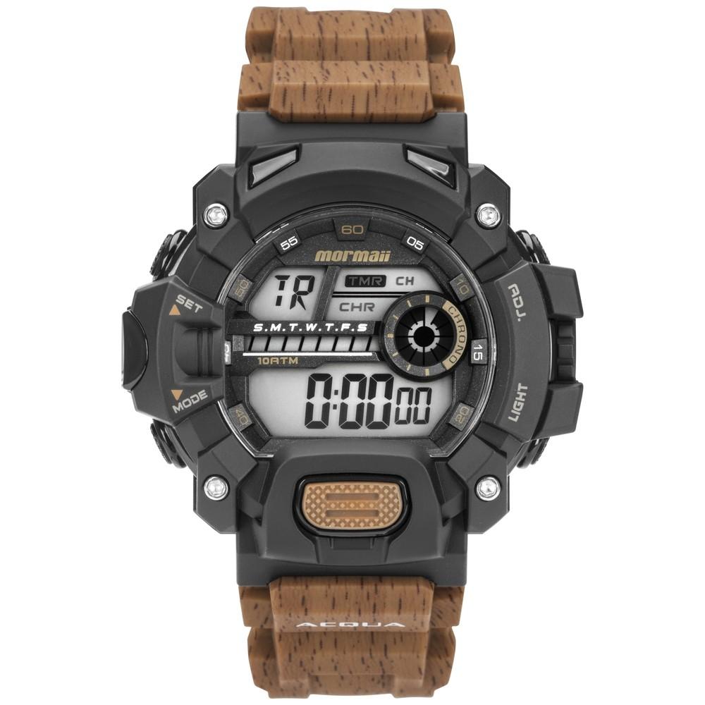 Relógio Masculino Mormaii Digital Cronógrafo Action Acqua Wood Pulseira Cor Madeira MO1132AH/8M