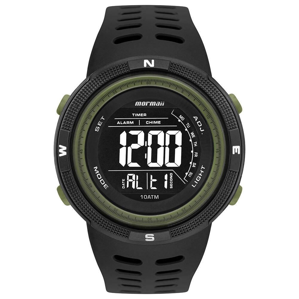 Relógio Masculino Mormaii Wave Preto Verde Digital À Prova D'água Cronógrafo Despertador MO3590AD/8V