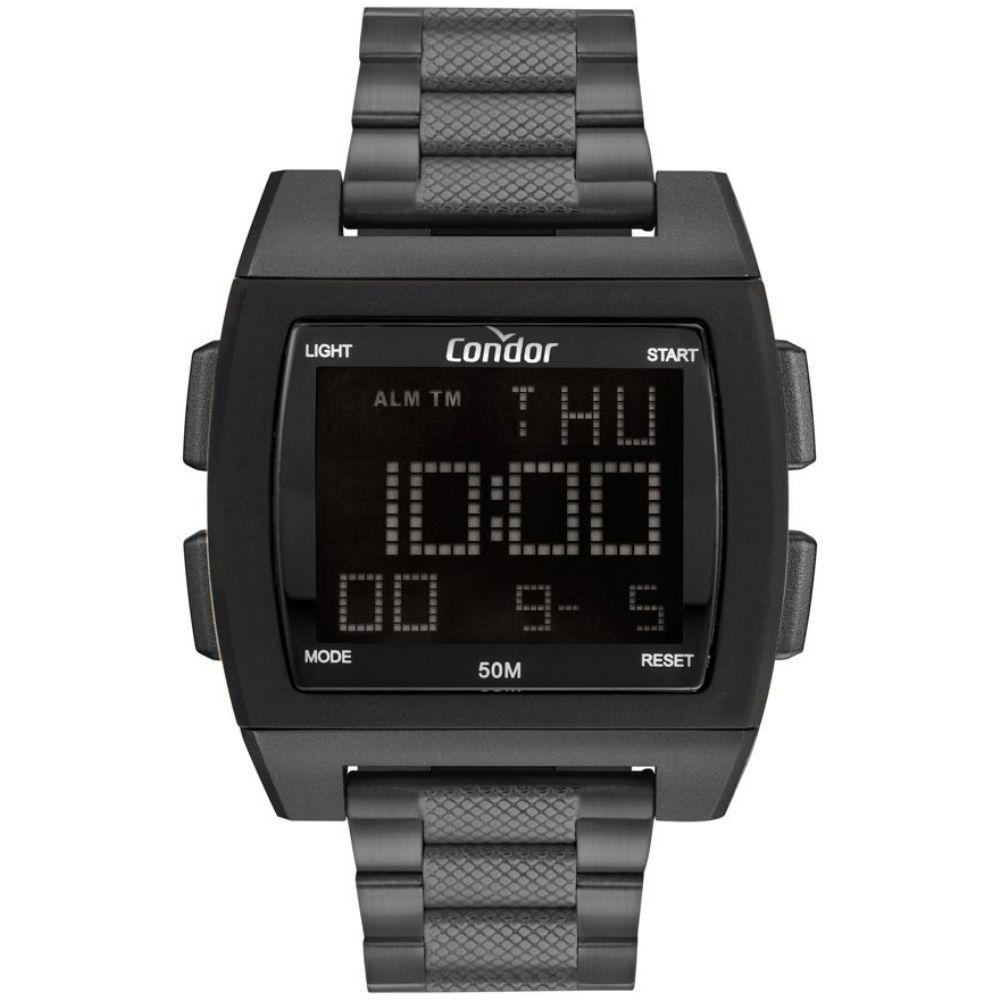 Relógio Masculino Quadrado Preto Grafite Digital Condor Grande Sport Pulseira de Metal COBJ2649AG/8C