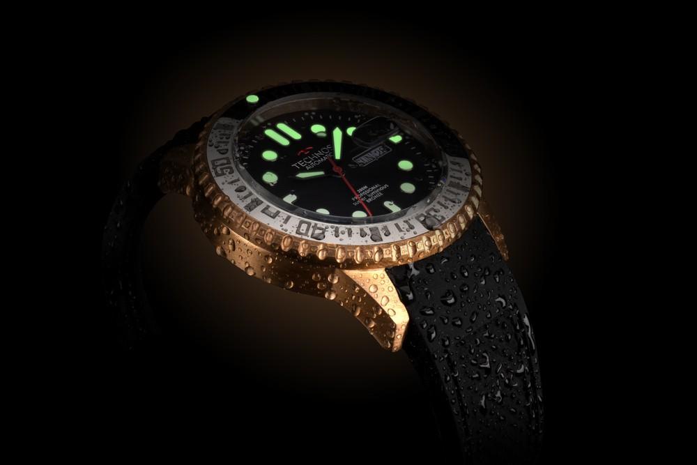 Relógio Masculino Technos 8205OH/8P Automático Bronze Maciço À Prova D'água Pulseira de Silicone