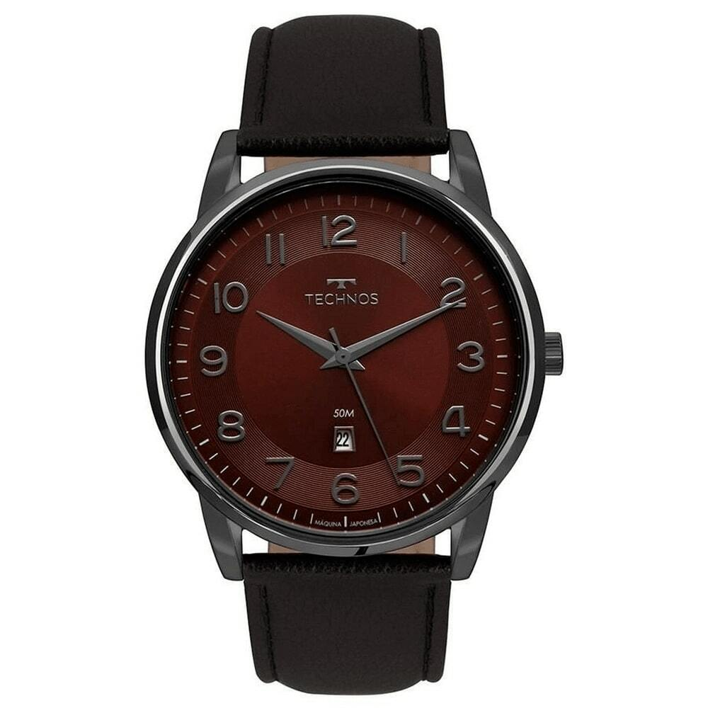 Relógio Masculino Technos Classic Steel Analógico Caixa de Aço Pulseira de Couro Preta 2117LBG/2N