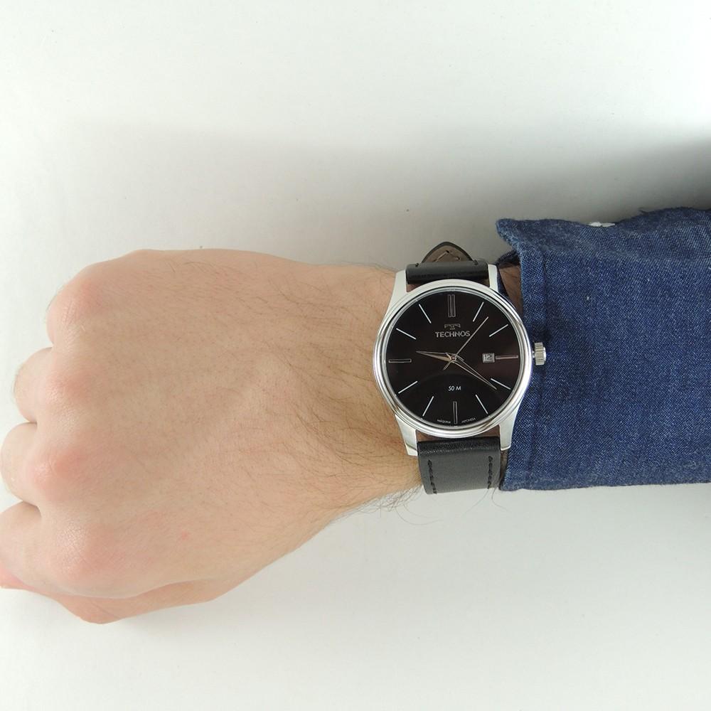 Relógio Masculino Technos Clássico Classic Steel Prata Preto Pulseira de Couro Preta Data 2115MXU/0P