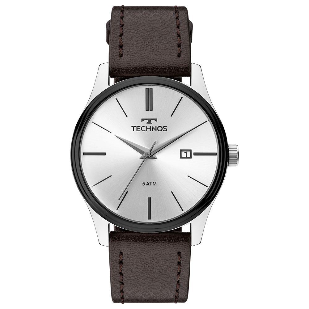 Relógio Masculino Technos Clássico Classic Steel Prata Pulseira de Couro Marrom Data 2115MPP/1K