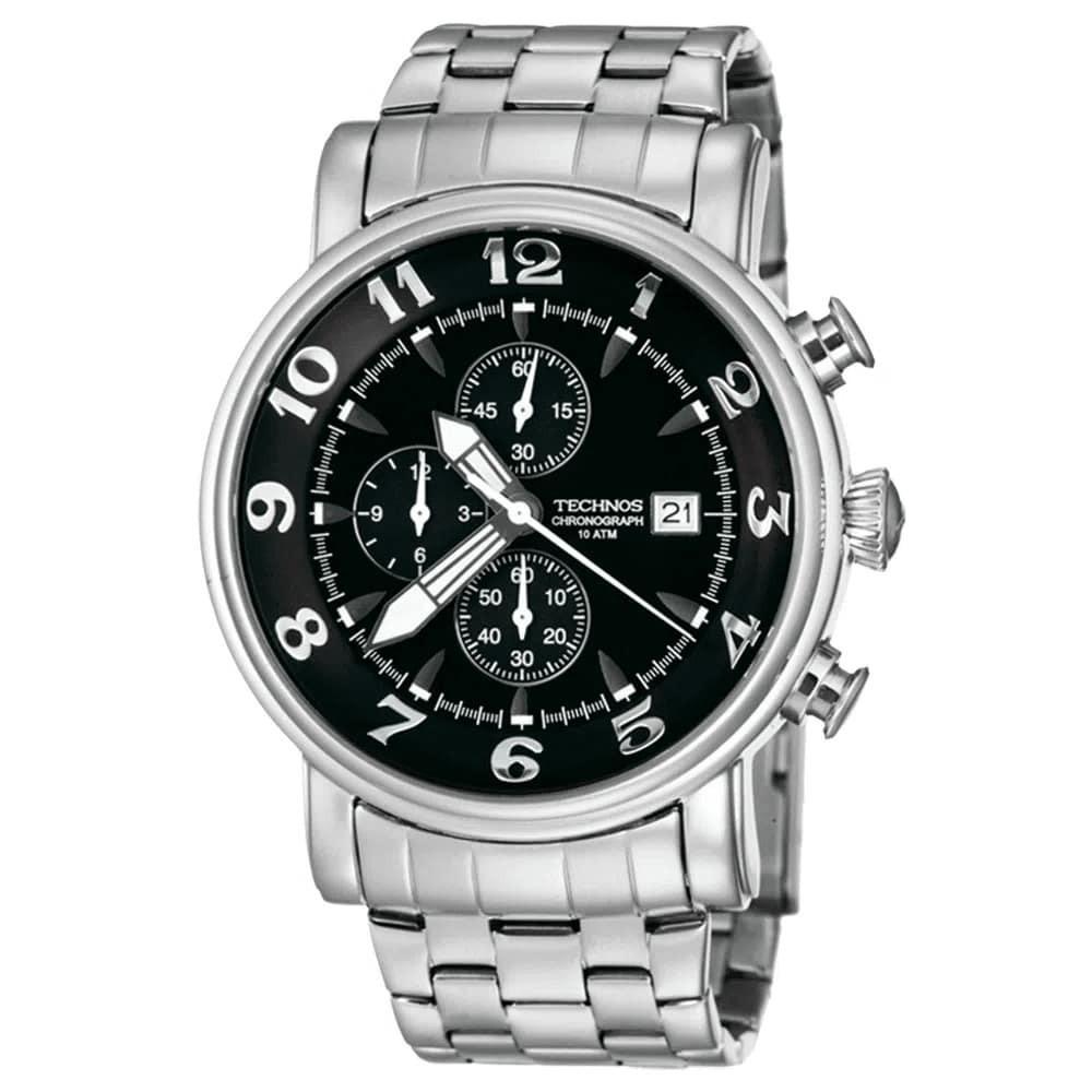 Relógio Masculino Technos Grandtech Cronógrafo Prata Caixa e Pulseira de Aço Inoxidável OS10CS/1M