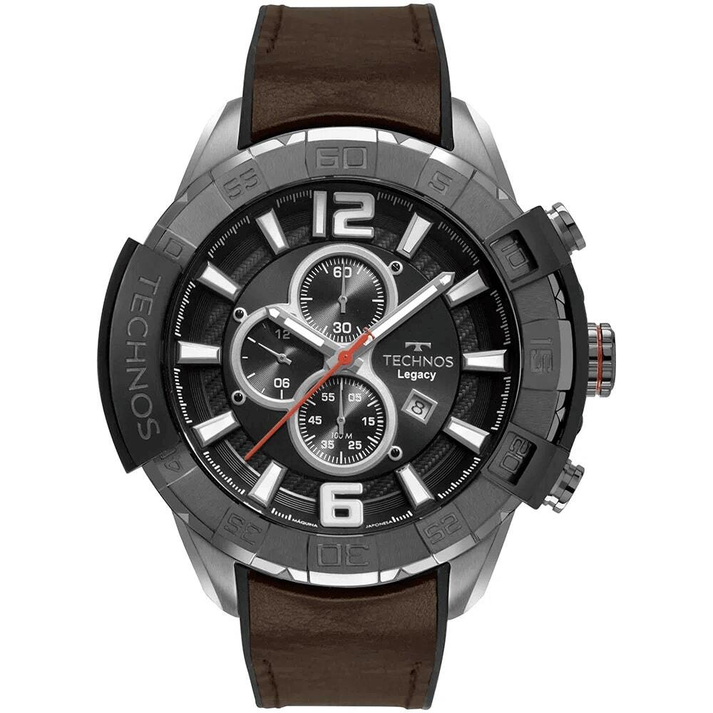 Relógio Masculino Technos Legacy Classic Cronógrafo Grande 56mm Pulseira de Couro Marrom OS10FF/2P