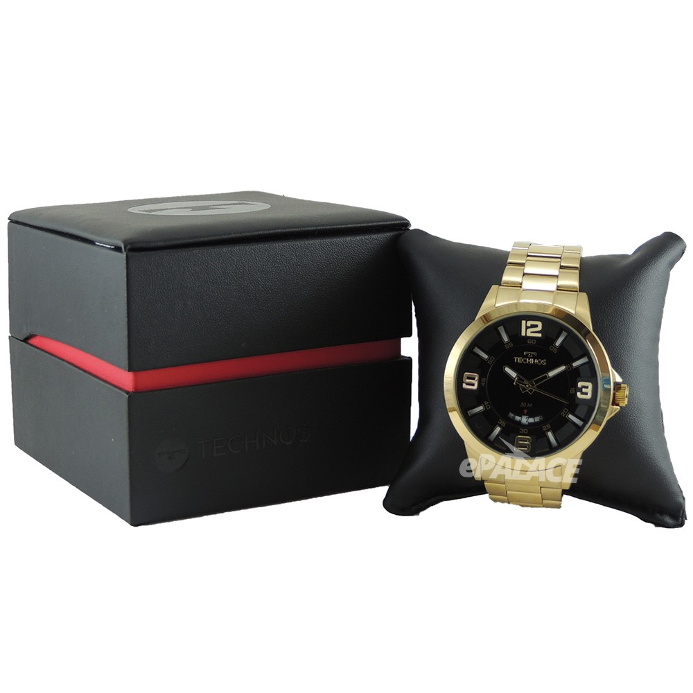 Relógio Masculino Technos Racer Performance Dourado Aço Inoxidável 5 ATM Analógico Data 2117LBO/4P