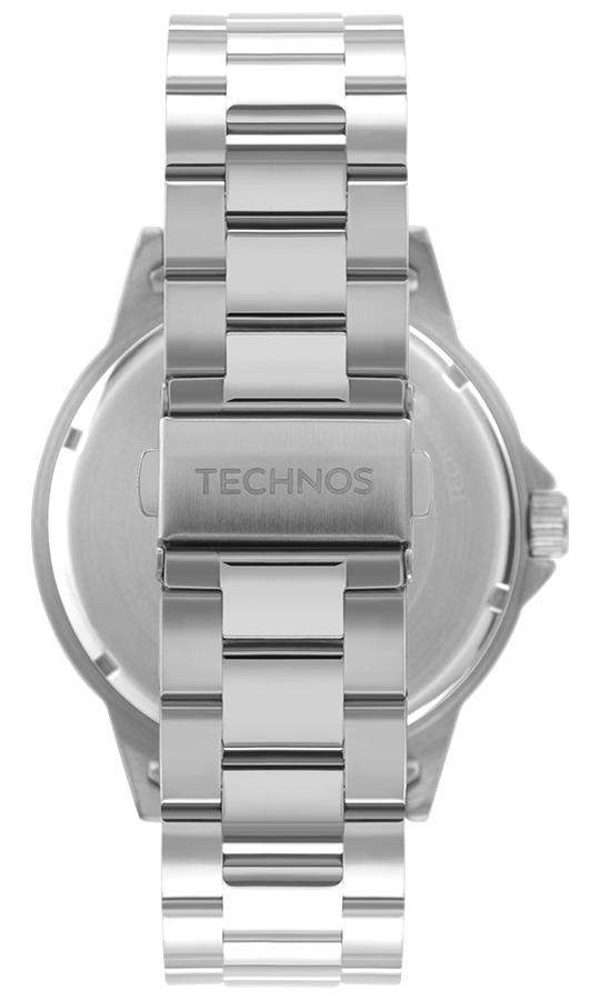 Relógio Masculino Technos Racer Performance Prata Azul Analógico Data Aço Inoxidável 2117LCYS/1A