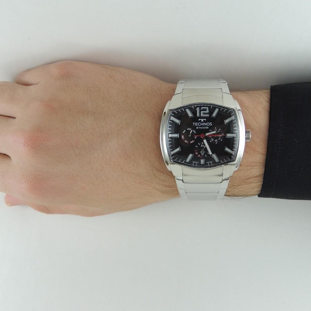 Relógio Masculino Technos Skymaster Performance Quadrado Prata Analógico Aço Inoxidável 6P29AEW/1P