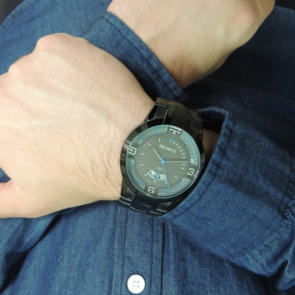 Relógio Masculino Technos Skymaster Racer Preto Azul Performance Analógico Aço Inoxidável 2117LBD/4P