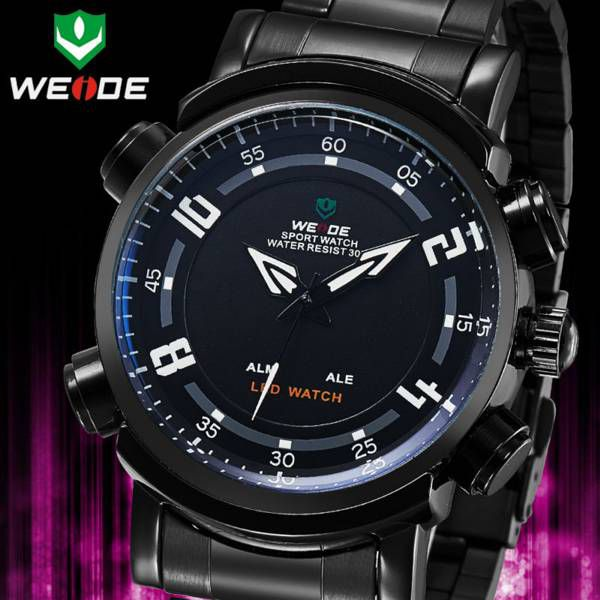 Relógio Masculino Weide WH1101 Aço Inoxidável Preto Analógico e Digital