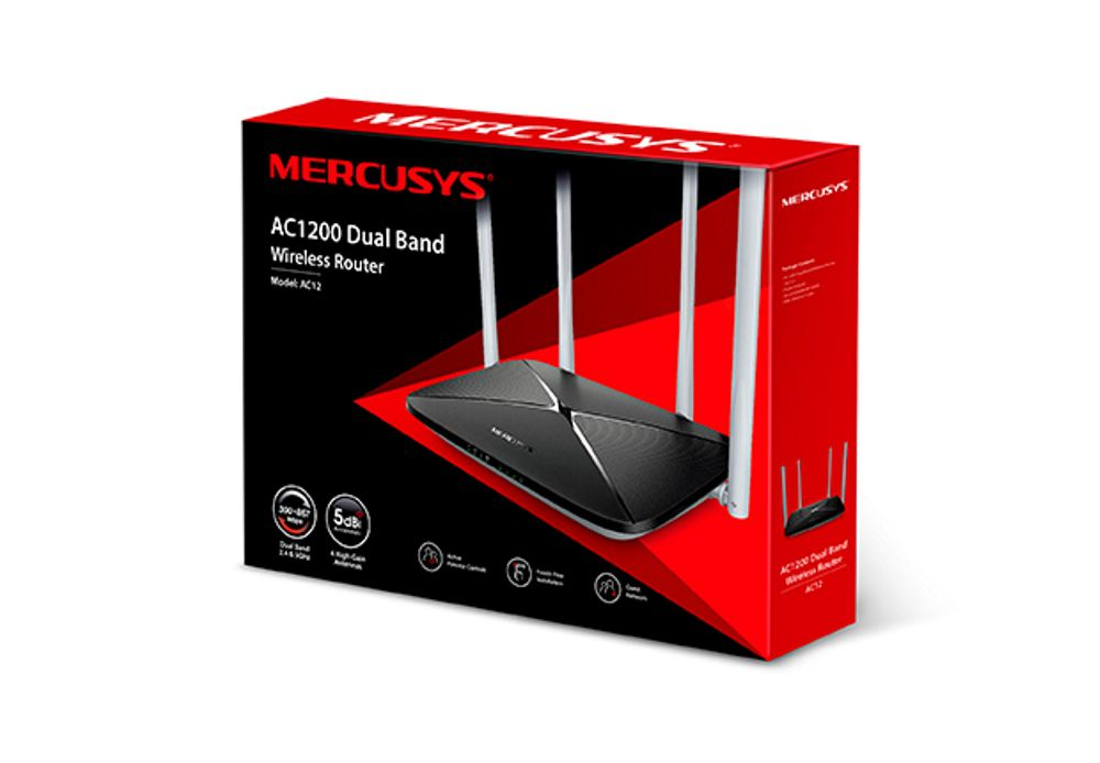Roteador Mercusys AC12 Wireless Dual Band AC1200 867Mbps 5Ghz 300Mbps 2.4Ghz IPTV Controle Parental
