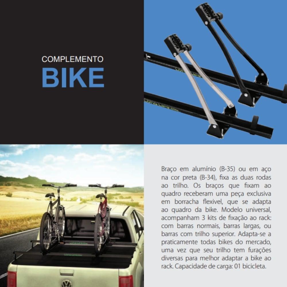Suporte para Bicicleta Transbike Long Life Auto Bike B-34 com 3 Kits de Fixação para Rack de Teto