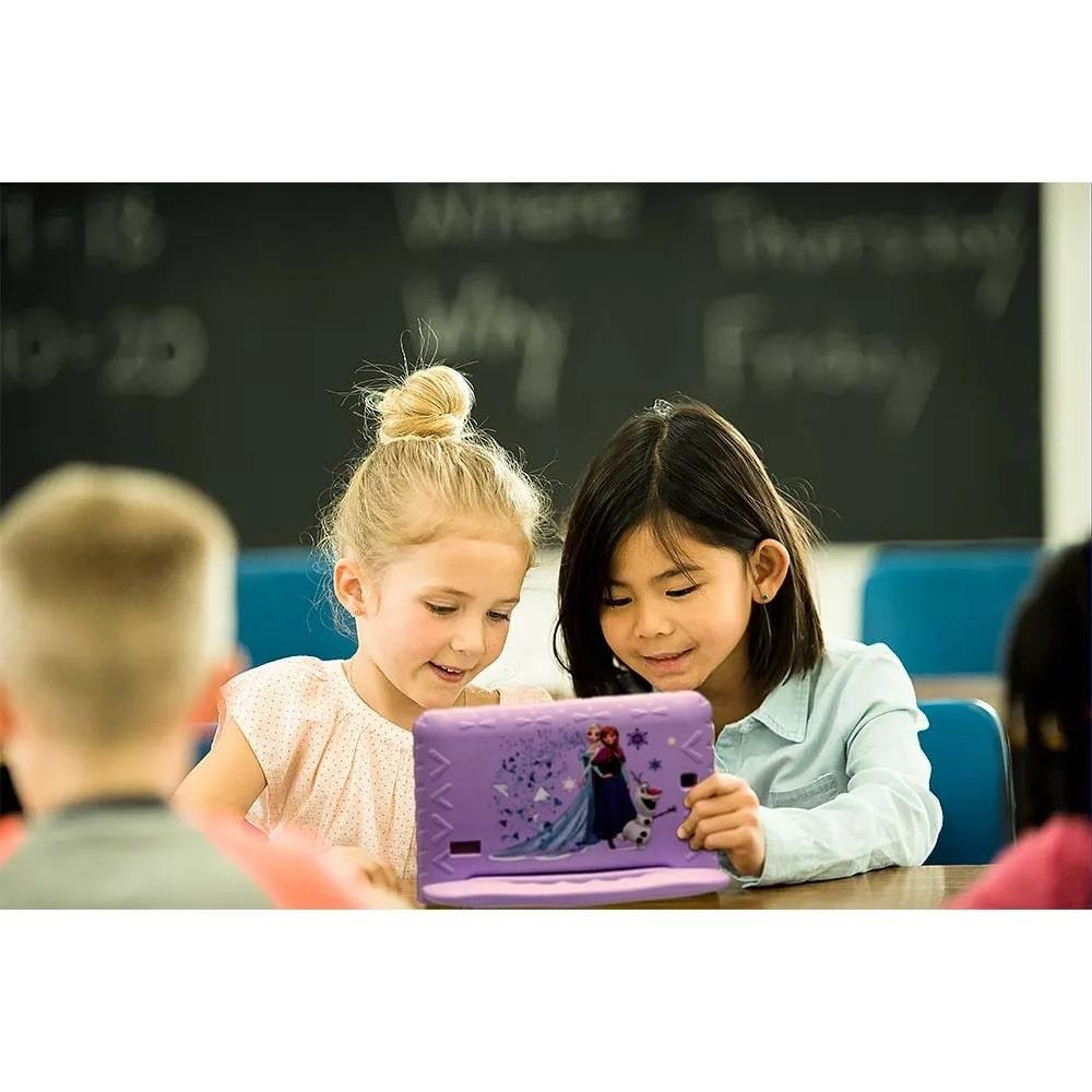 Tablet Infantil Disney Frozen Kids Plus Multilaser NB315 Capa Emborrachada Roxo 16GB Bluetooth Wi-Fi