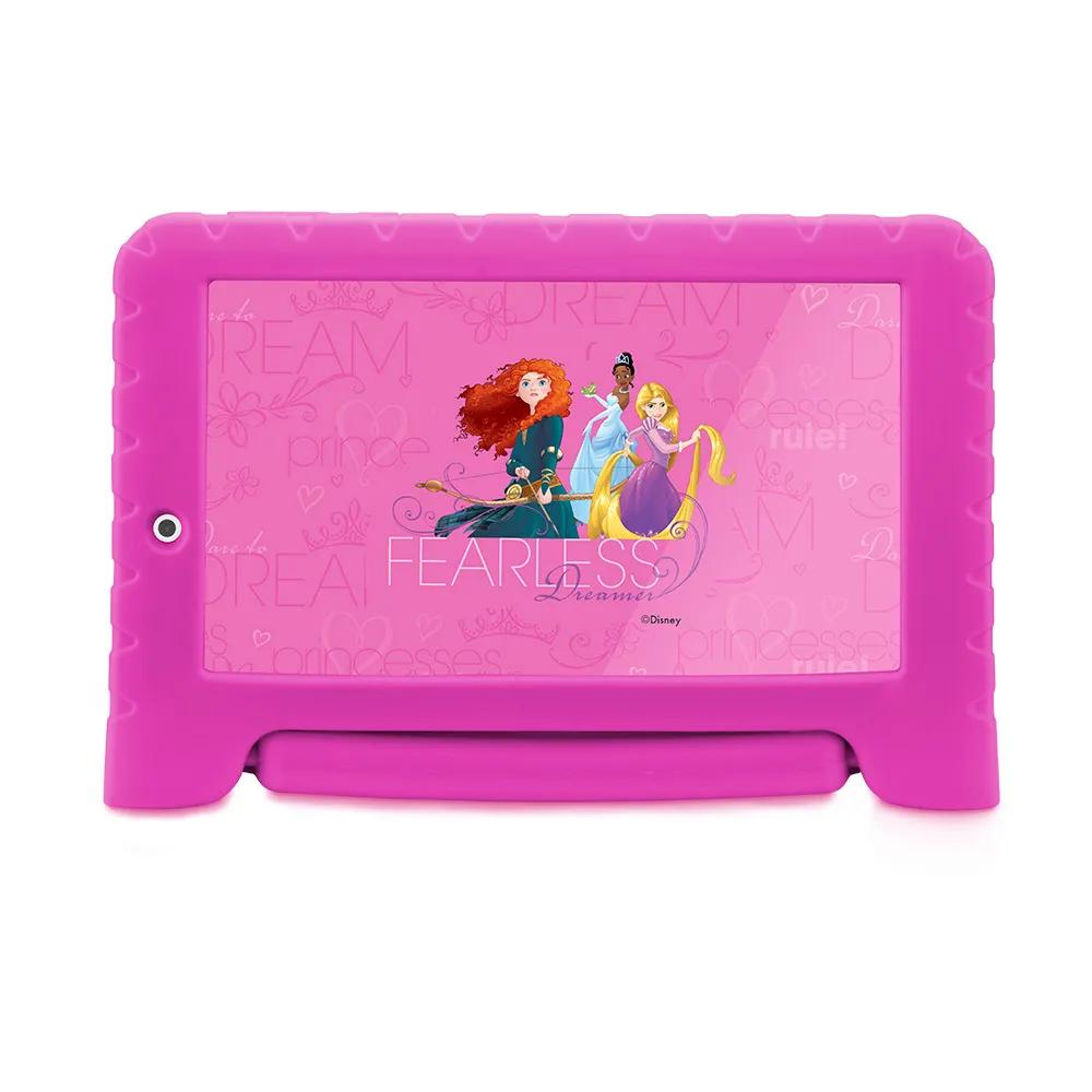 Tablet Infantil Disney Princesa Kids Plus Multilaser NB308 Capa Emborrachada Rosa 16GB Bluetooth Wi-Fi