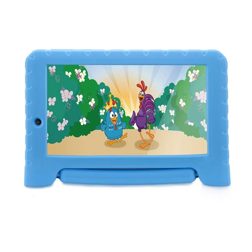 Tablet Infantil Galinha Pintadinha Kid Pad Plus Multilaser NB311 Capa Azul 16GB Bluetooth Wi-Fi
