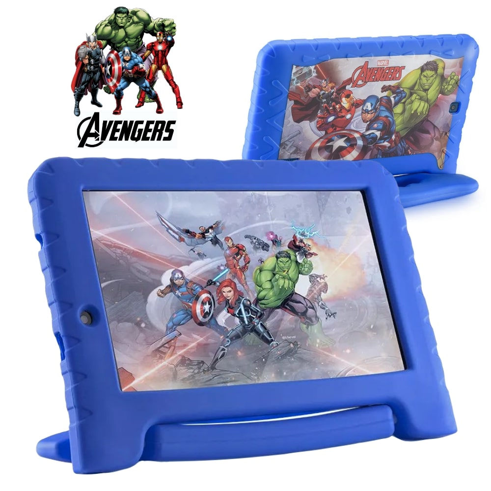 Tablet Infantil Marvel Avengers Plus Multilaser NB307 Capa Emborrachada Azul 16GB Bluetooth Wi-Fi