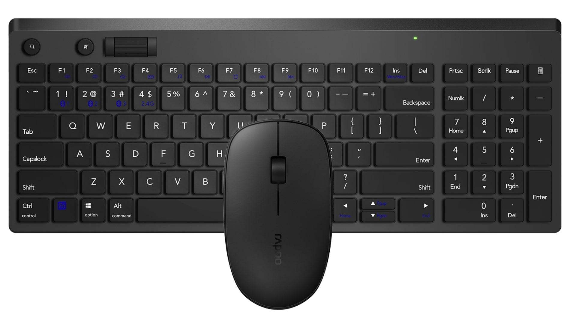 Teclado e Mouse Combo Sem Fio Dual Mode Bluetooth + Wireless 2.4GHz Rapoo 8050T RA003 Garantia 5 ano