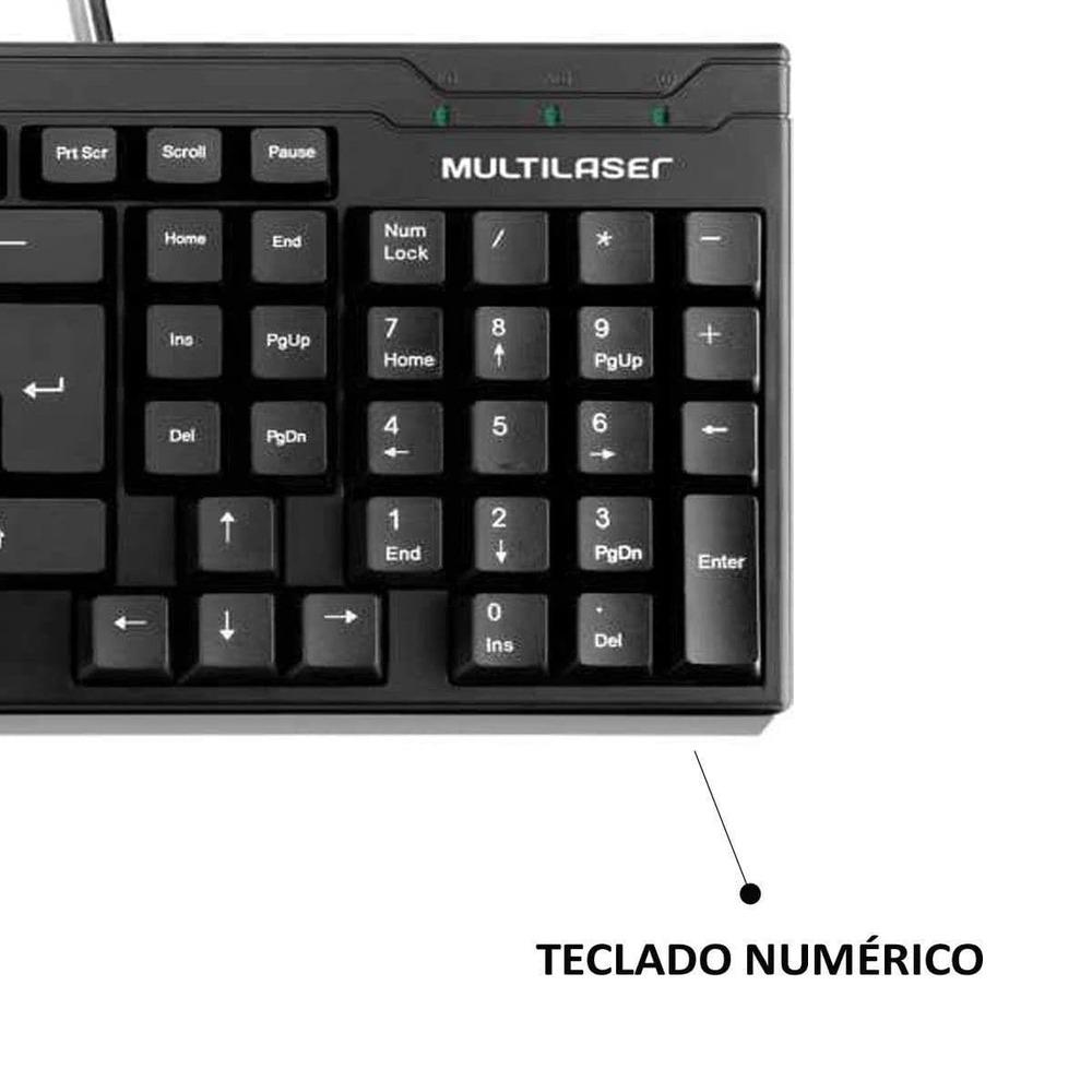 Teclado Multilaser TC193 Português ABNT2 com Ç Com Fio Conexão USB Perfil Slim Resistente à água