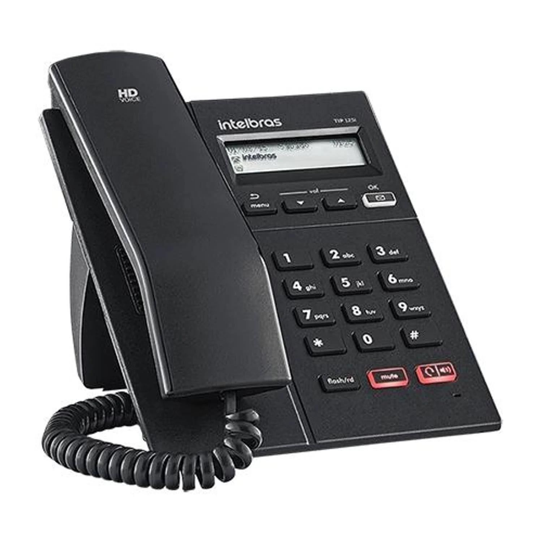 Telefone IP Intelbras TIP 125i Voip SIP PoE Viva-voz Display Identificador Chamadas Entrada Headset