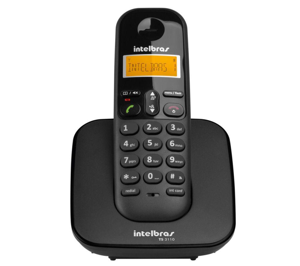 Telefone Sem Fio Intelbras TS3110 Preto Com Identificador de Chamadas