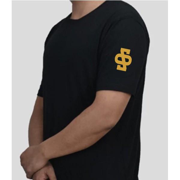 Camiseta preta algodão personalizada Paezano's com ombro