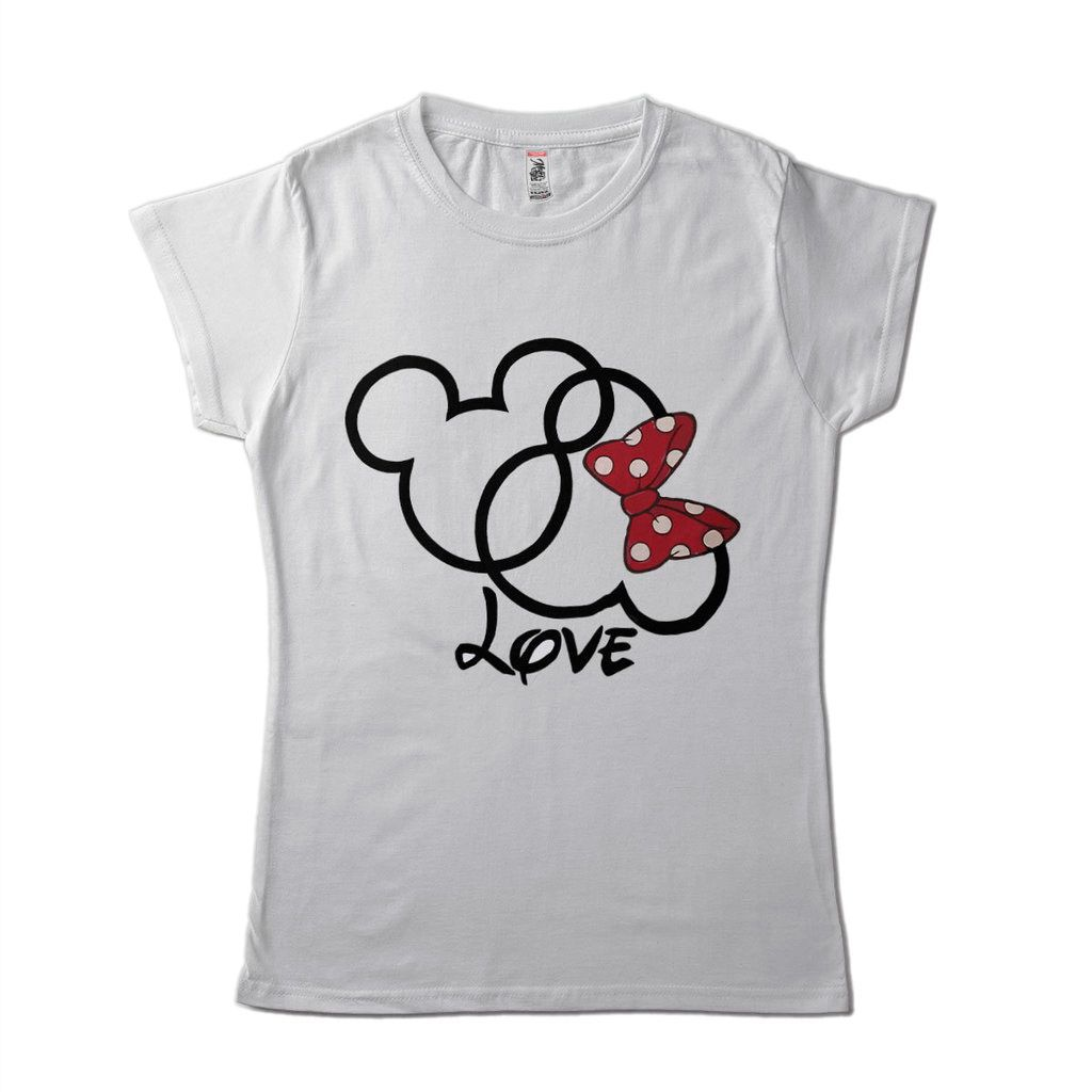 Blusa Estampa Mickey Minnie Love Feminina Branca