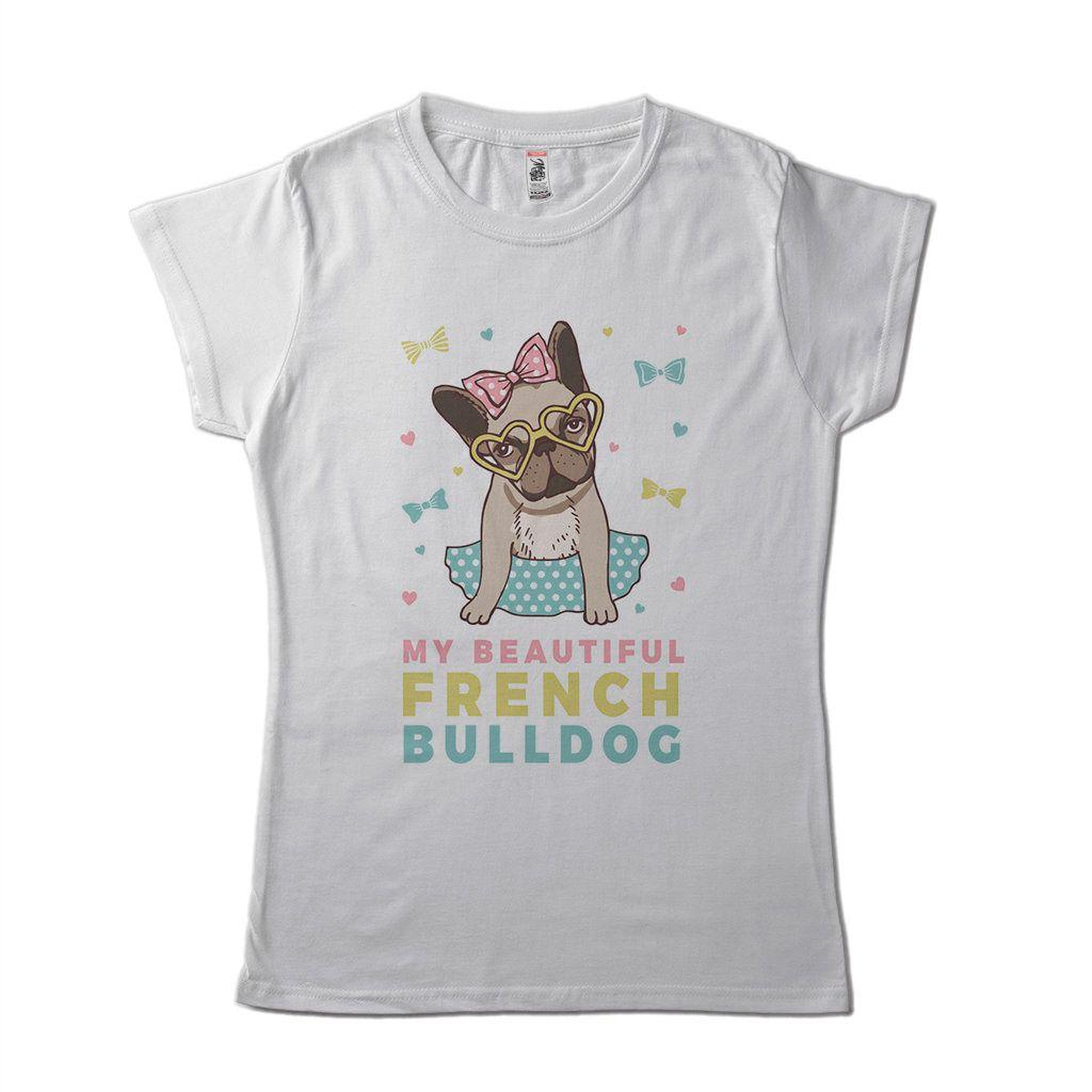 blusa feminina bulldog frances pet branca algodao