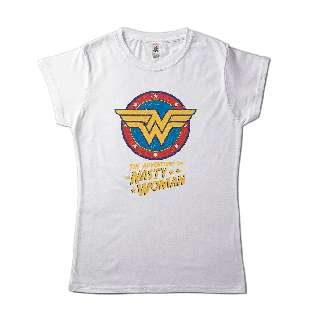 Blusa Feminina Mulher Maravilha Nasty Woman Brasão Camiseta DC Comics