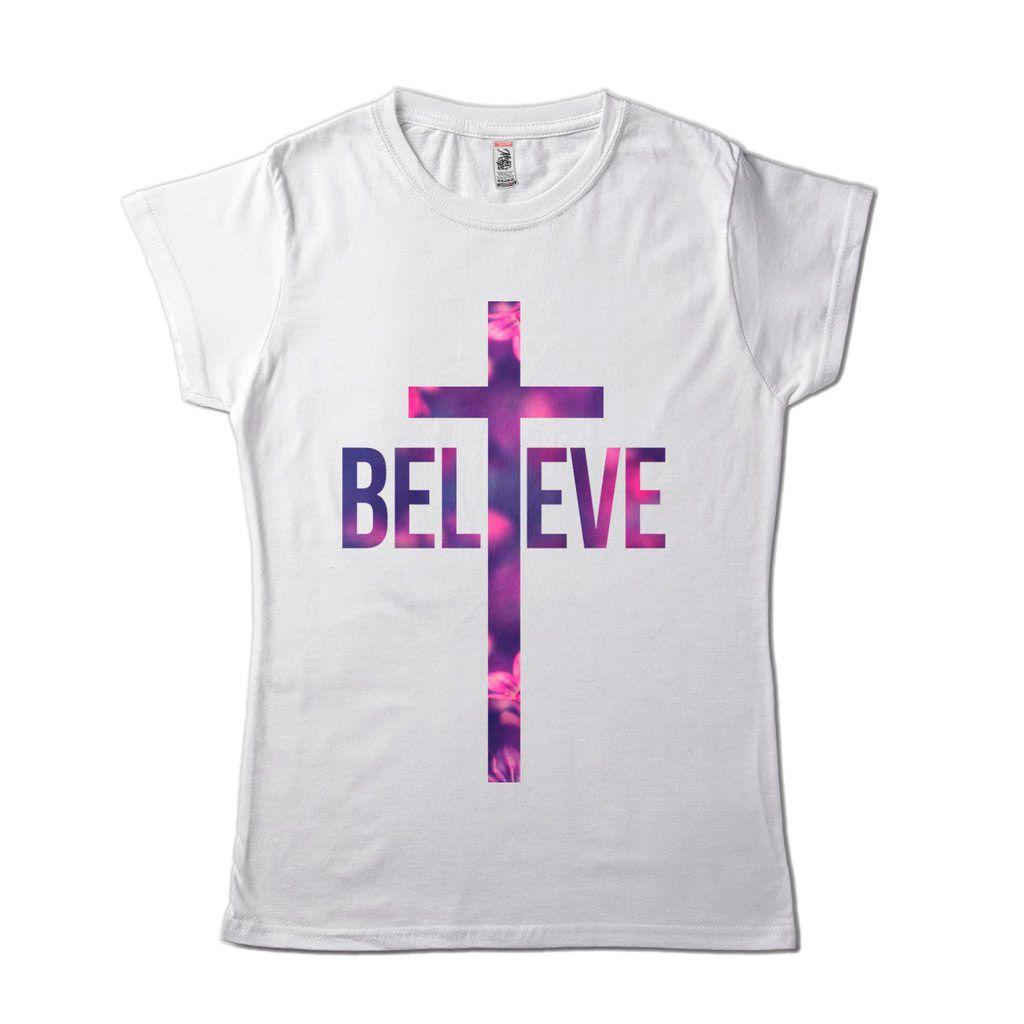 Blusa Religiosa Feminina Estilosa Believe Jesus Fé Acreditar