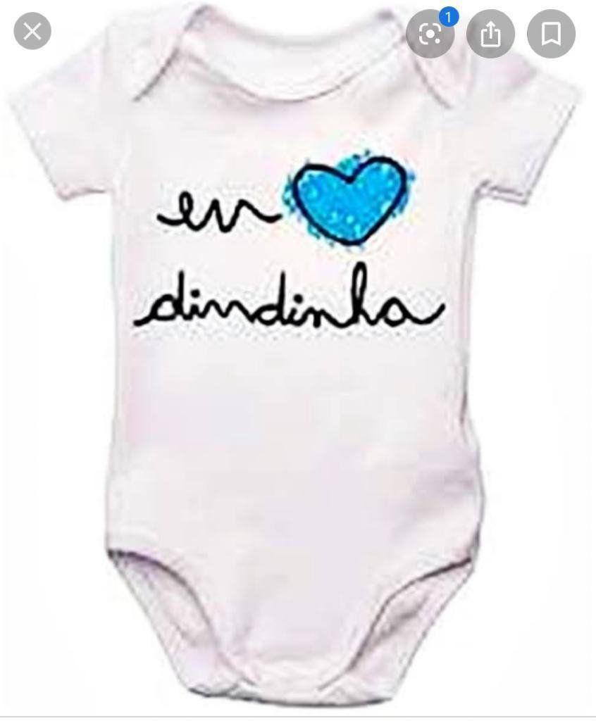 Body de Bebê Amo a dindinha coração azul