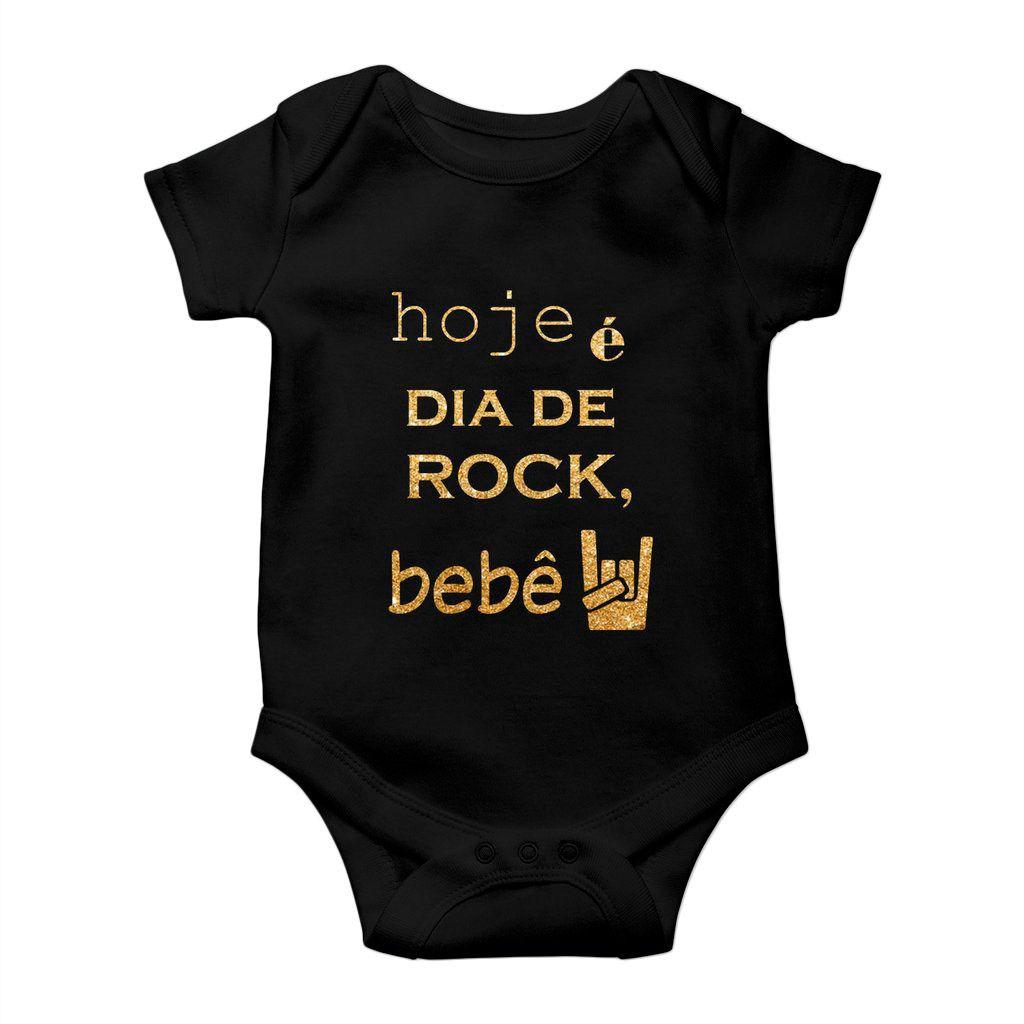 body hoje e dia de rock bebe estampa dourada