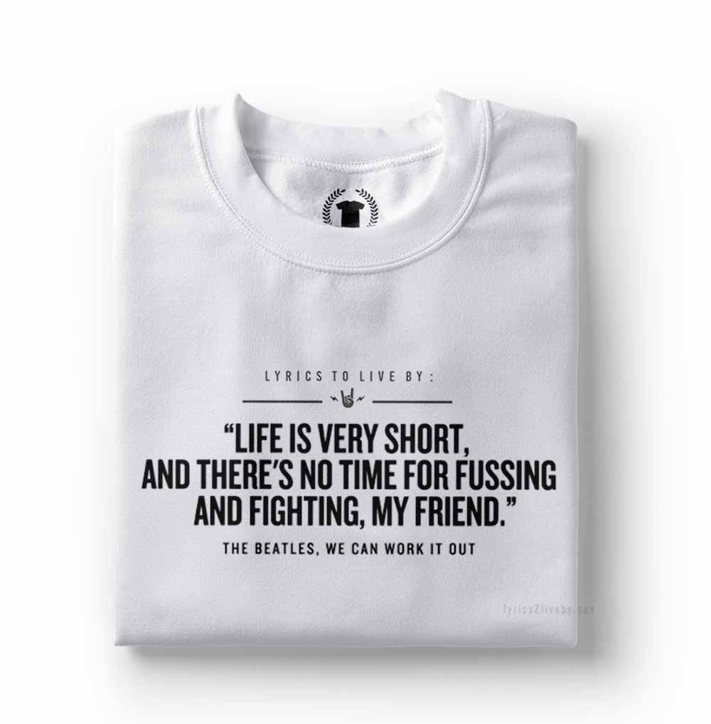 camisa camiseta frases de rock beatles branca