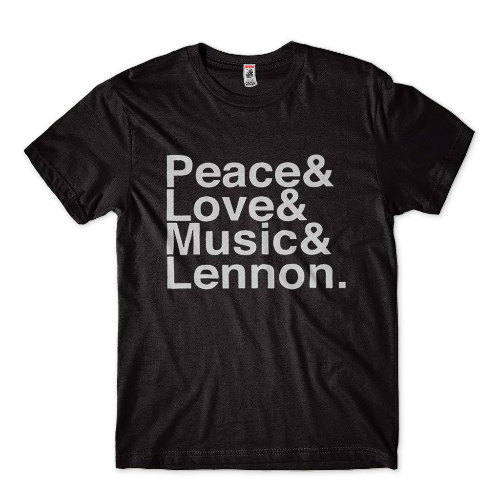 camiseta john lennon peace love music preta