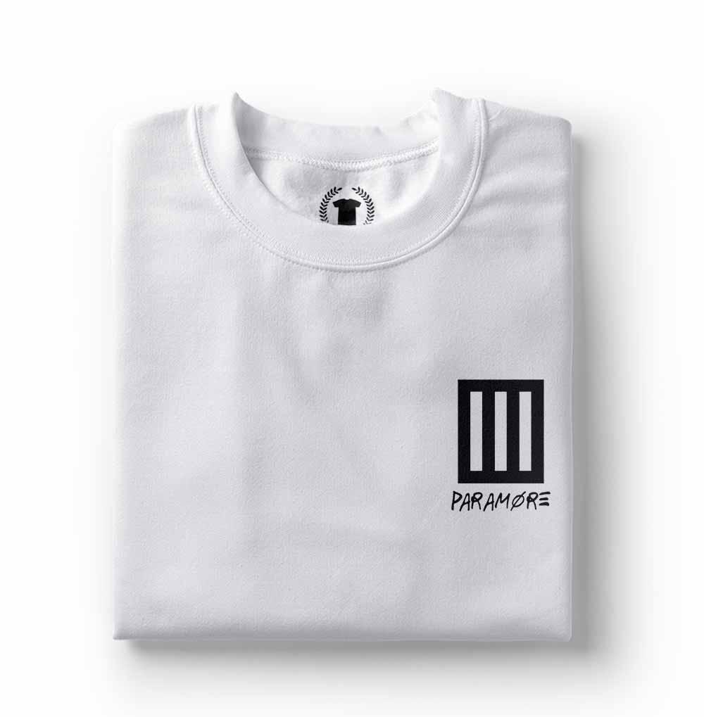 camisa Camiseta Paramore bolso branca