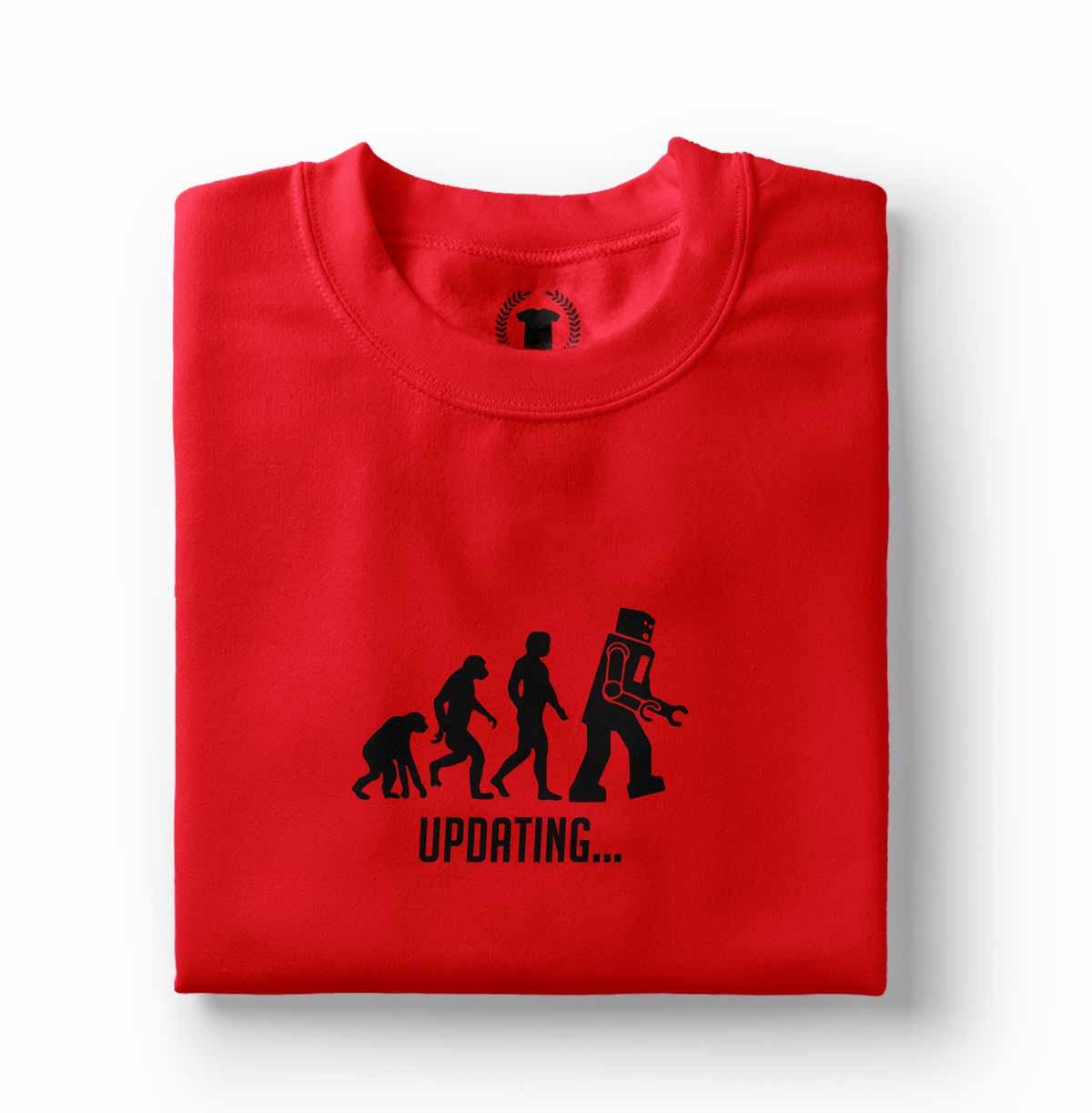 Camisa engracada Evolucao Homem atualizando Robo Updating