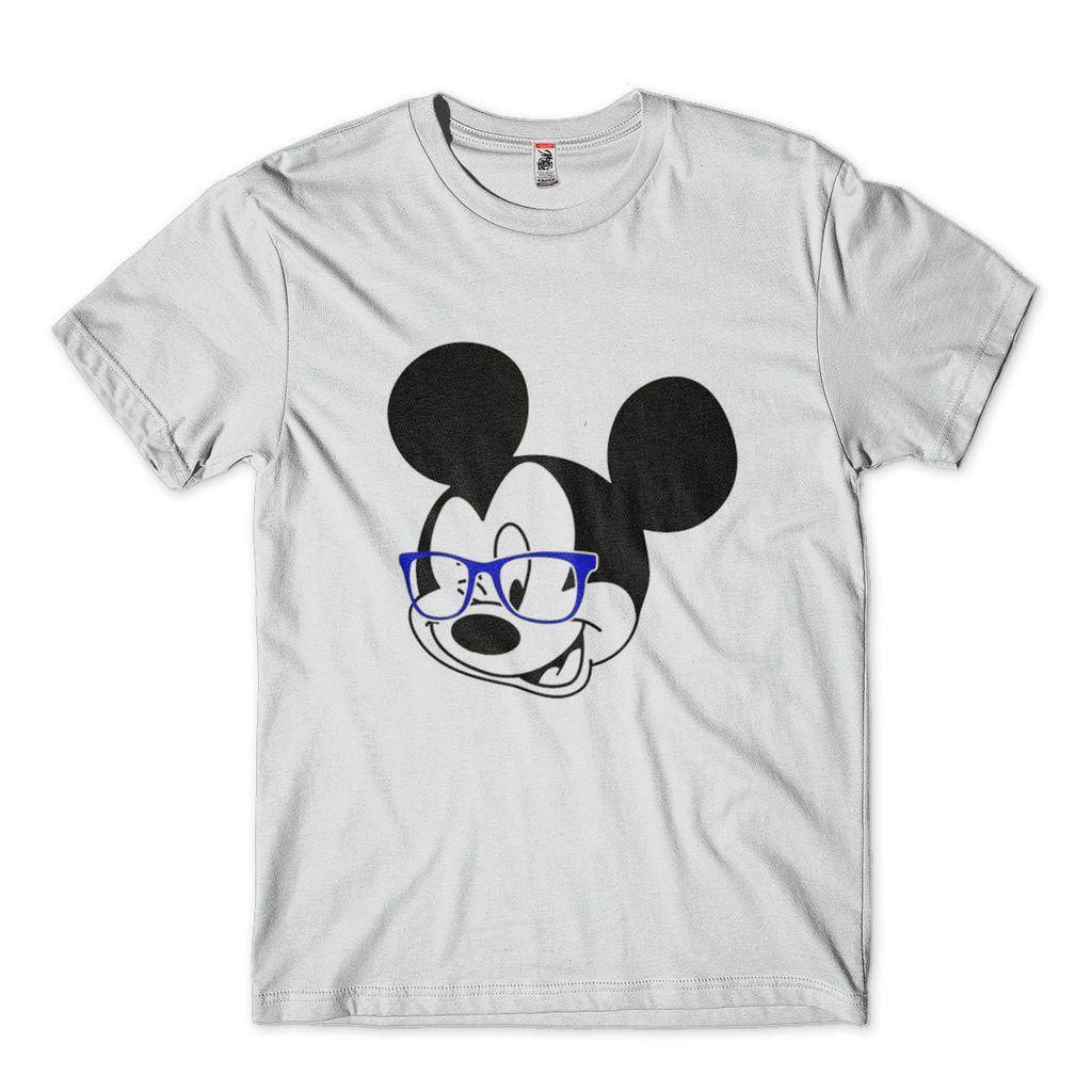 camisa estampa mickey geek de oculos branca