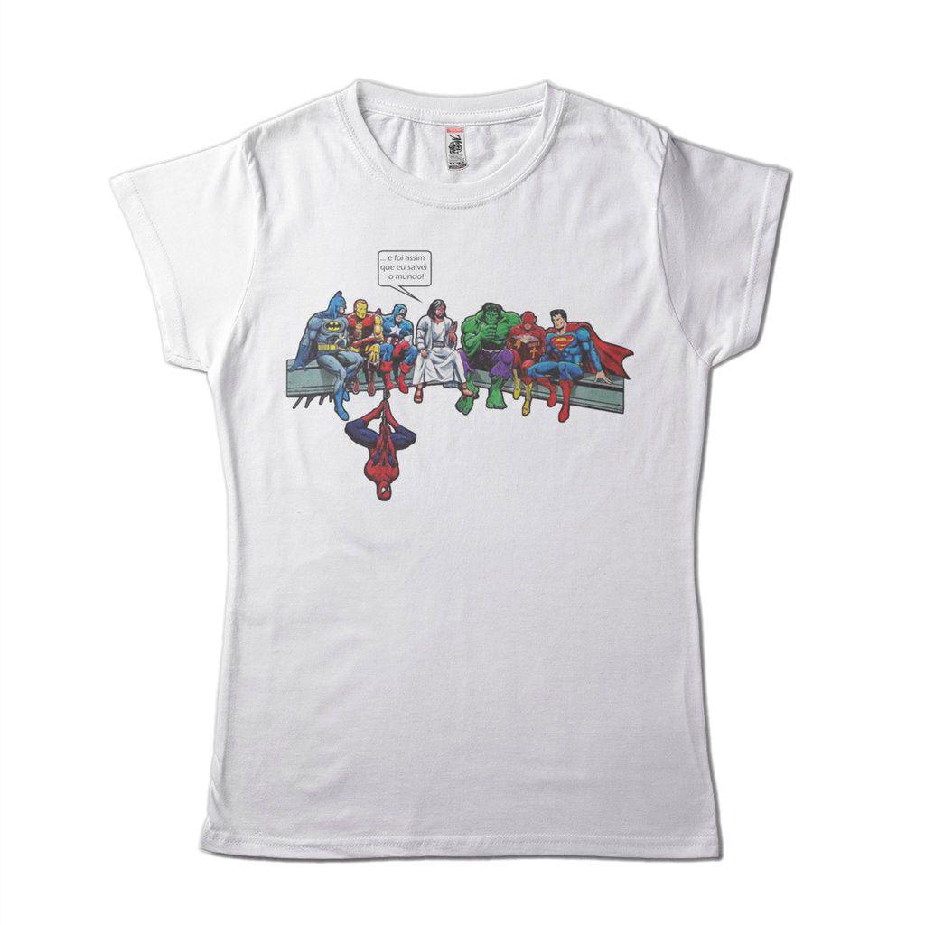 Camisa Evangelica Engracada Feminina Super Herois Salvacao