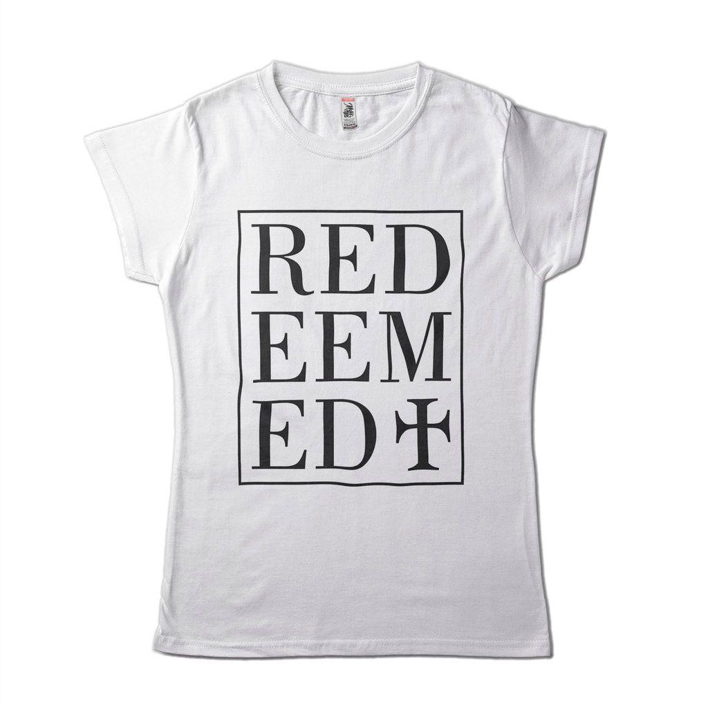 Camisa Evangelica Feminina Redeemed Redencao Branca