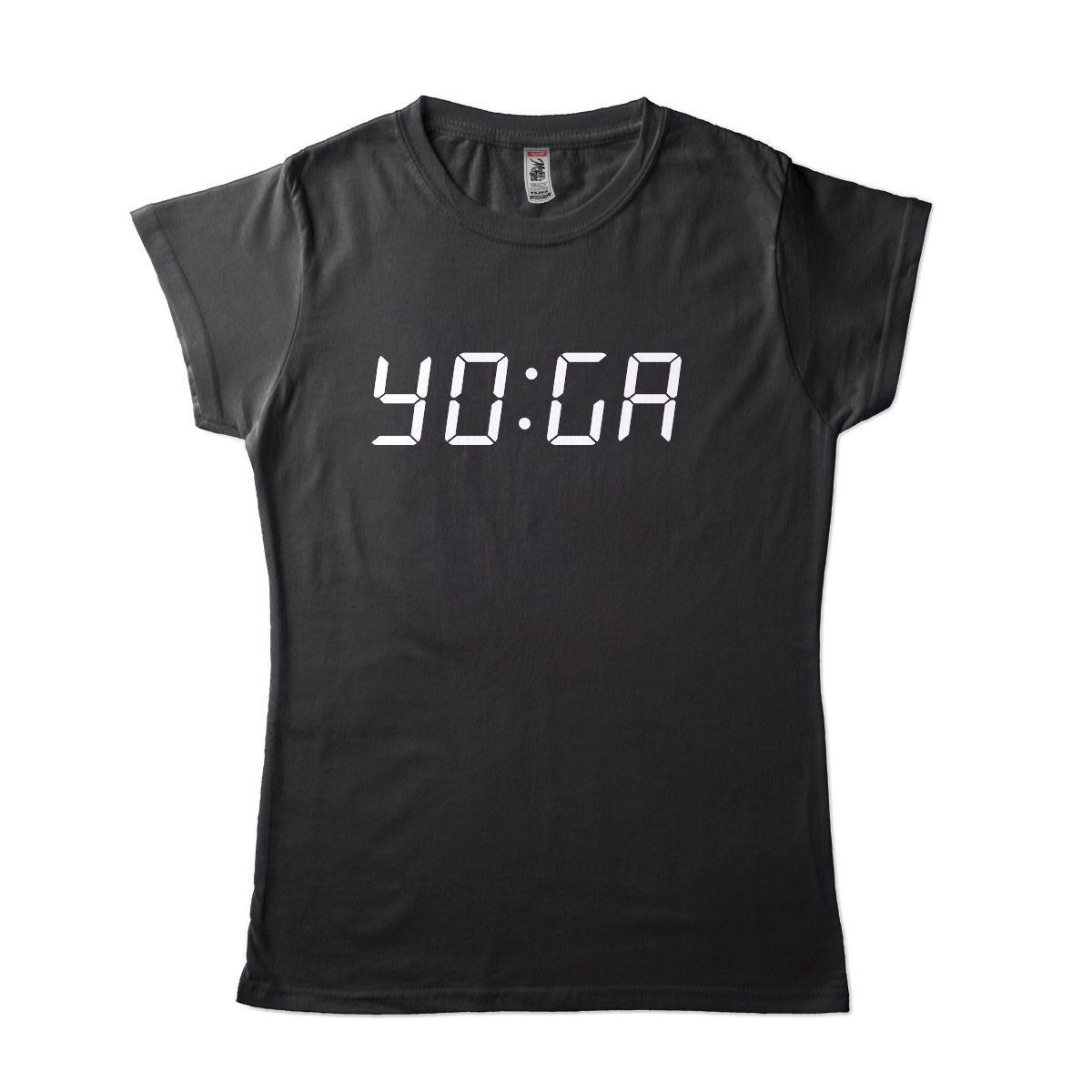 Camisa Feminina Hora para Yoga Relógio Preta