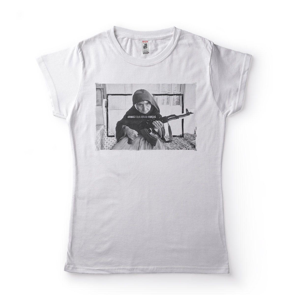 camisa freira com arma feminina  Branca
